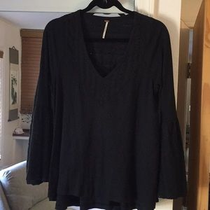 Free People v neck black top size S